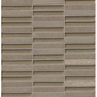 Tessuto 0.5 x 4 Stone and Glass Mosaic Tile in Dark Gray