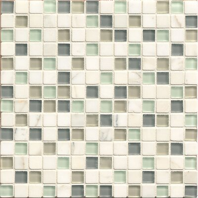 Interlude 0.75 x 0.75 Stone and Glass MosaicTile in Minuet