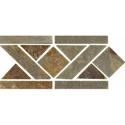 12 x 6 Stone Mosaic Liner Tile in Multicolor