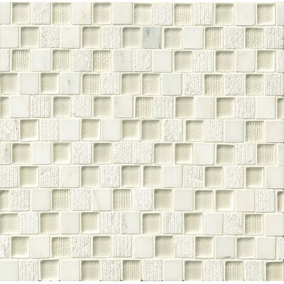 Tessuto 0.75 x 1 Stone and Glass Mosaic Tile in White