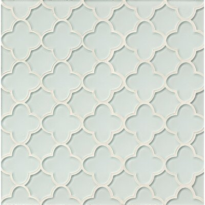 Mallorca Glass Flora Mosaic Tile in White Linen