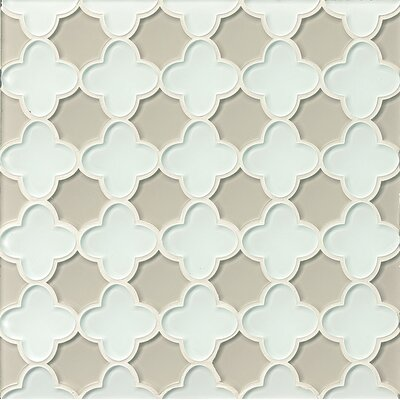 La Palma Glass Flora Mosaic Tile in White / Fog