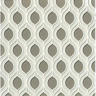 Mallorca Glass Mosaic Tile in White Linen and Roca