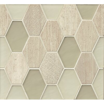 DuJour Glass and Stone Mosaic Tile in Cream