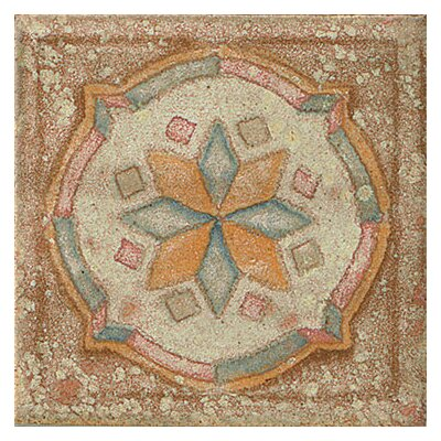 Cotto Nature 3 x 3 Tira Sandro Hand Painted Dot/Corner Tile