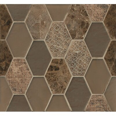 DuJour Glass and Stone Mosaic Tile in Brown