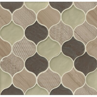 Panache Glass and Stone Mosaic Tile in Mohair/Cream