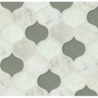 DuJour Glass and Stone Mosaic Tile in White / Green