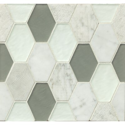 DuJour Glass and Stone Mosaic Tile in Taupe