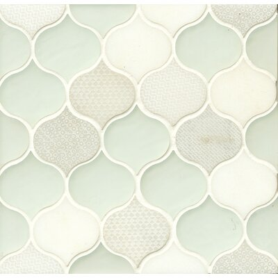 DuJour 10 x 10.5 Glass and Stone Mosaic Tile in White