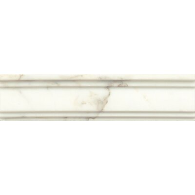 Honed Marble  12 x 3  Chandra Crown Molding Tile in Calacatta Oro