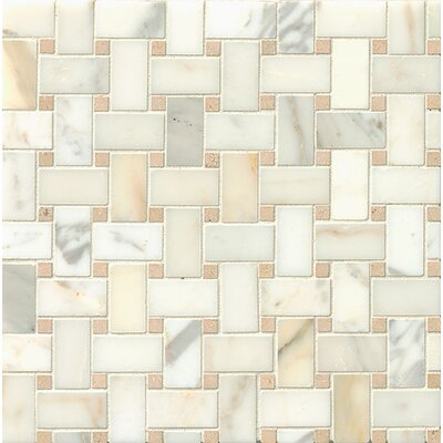 Marble Mosaic Tile in Calacatta Oro and Jura Beige