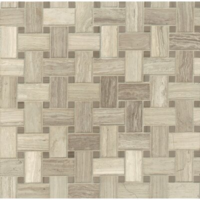 Basket Weave Marble Mosaic Tile in Ashen Grey