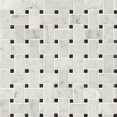Aurora Basket Weave 12 x 12 Marble Mosaic Tile in White Carrara and Black