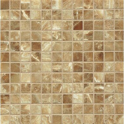 Onyx 1 x 1 Marble Mosaic Tile in Caramel Swirl