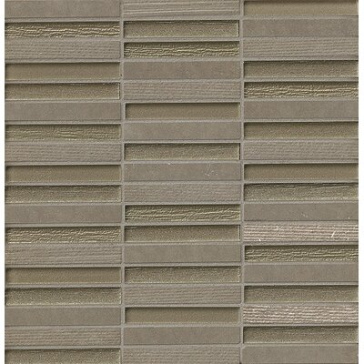 Tessuto 0.5 x 4 Stone and Glass Mosaic Tile in Gray