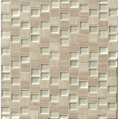 Tessuto  0.75 x 1 Stone and Glass Mosaic Tile in Silver