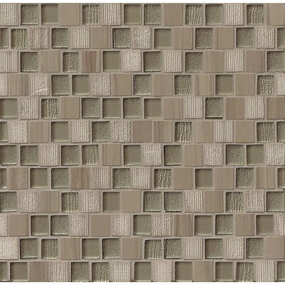 Tessuto  0.75 x 1 Stone and Glass Mosaic Tile in Taupe
