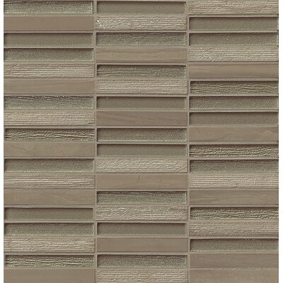 Tessuto 0.5 x 4 Stone and Glass Mosaic Tile in Taupe