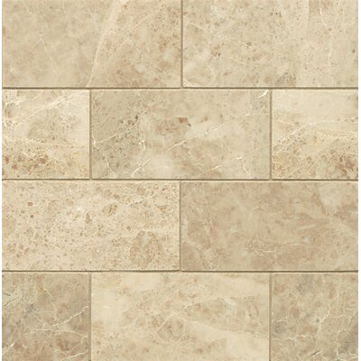 Polished 3 x 6 Marble Mosaic Tile in Cappuccino