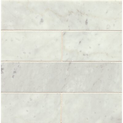 3 x 12 Honed Marble Field Tile in White Carrara