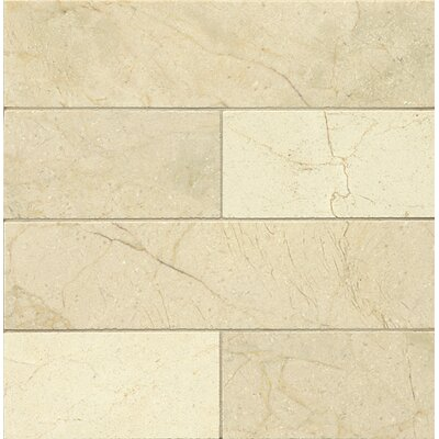 Honed 3 x 12 Marble Mosaic Tile in Crema Marfil Select
