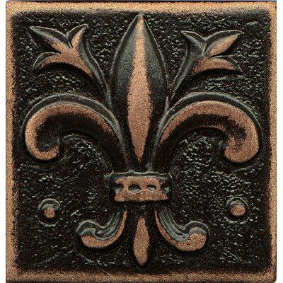 Ambiance Insert Flor De Lis 2 x 2 Resin Tile in Venetian Bronze