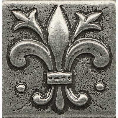 Ambiance Insert Flor De Lis 2 x 2 Resin Tile in Pewter