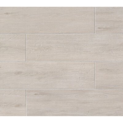 Porcelain Wood Look Tile in Glazed White