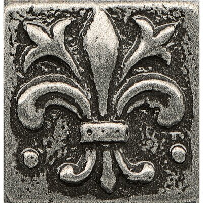 Ambiance Insert Flor De Lis 1 x 1 Resin Tile in Pewter