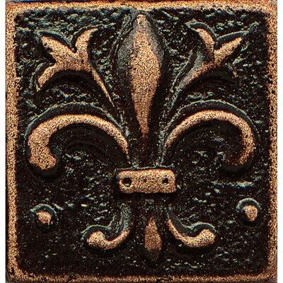 Ambiance Insert Flor De Lis 1 x 1 Resin Tile in Venetian Bronze