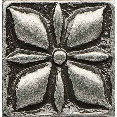 Ambiance Insert Jasmine 1 x 1 Resin Tile in Pewter