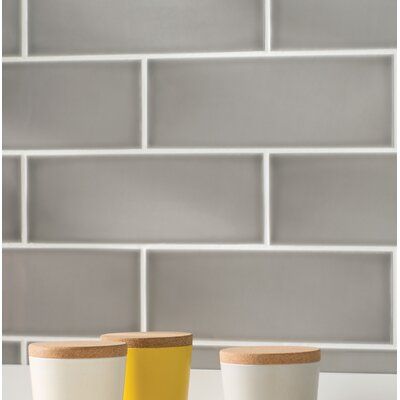 Leila 4 x 12 Ceramic Subway Tile in Grey