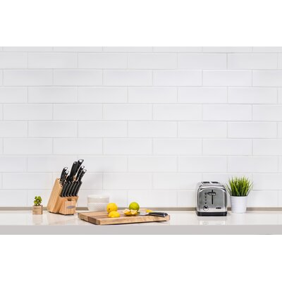 Leila 4 x 12 Ceramic Subway Tile in White