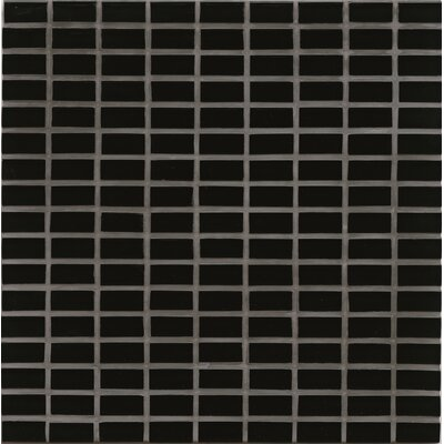 Harbor Glass 11 x 11 Glass Gloss Mosiac Mini Brick in Black Sand