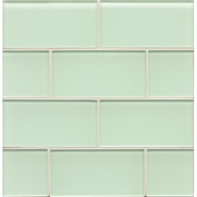 Hamptons 3 x 6 Glass Subway Tile in Glossy Message in a Bottle