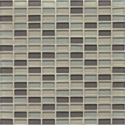 Harbor Glass 11 x 11 Glass Mini Brick Blend Gloss Tile in Starboard