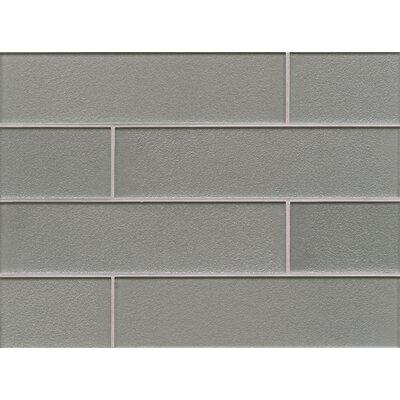 Manhattan 4 x 16 Glass Field Tile in Glossy Gray