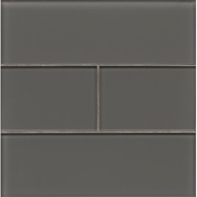 Hamptons 4 x 12 Glass Field Tile in Glossy Pelican