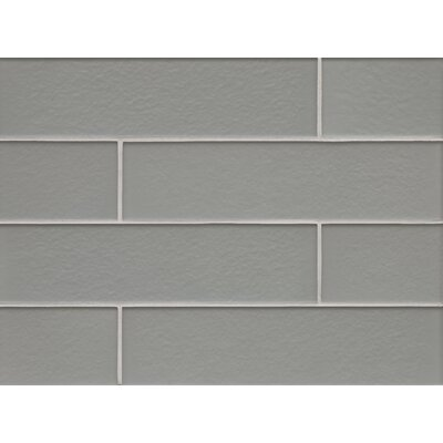 Manhattan 4 x 16 Glass Field Tile in Matte Gray