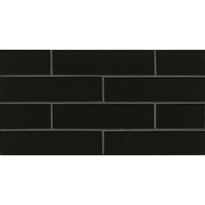 Remy Glass 8 x 16 Glass Mosaic 2x8 Gloss Mesh Mount Tile in Black
