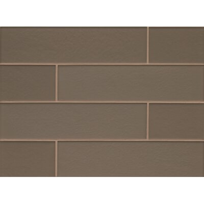 Remy Glass 4 x 16 Mosaic Field Tile Gloss in Taupe