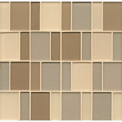 Remy Glass 12 x 12 Mosaic Brick Blends Tile in Aurora
