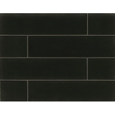 Manhattan 4 x 16 Glass Field Tile in Glossy Midnight