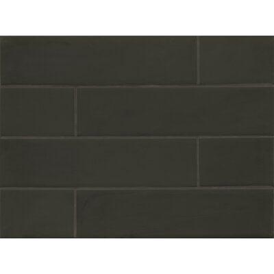 Manhattan 4 x 16 Glass Field Tile in Matte Midnight