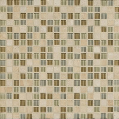 Eclipse 0.63 x 0.63 Glass Mosaic Tile in Beige