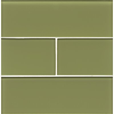 Hamptons 4 x 12 Glass Field Tile in Glossy Reed