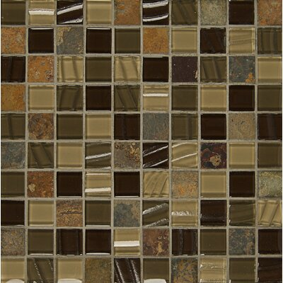 Elume 1.17 x 1.17 Natural Stone Mosaic Tile in Brown/Blue