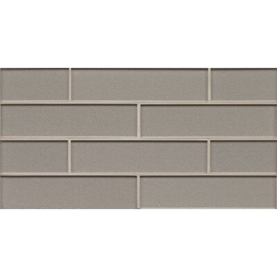 Remy Glass 8 x 16 Glass Mosaic 2x8 Gloss Mesh Mounted Tile in Silver