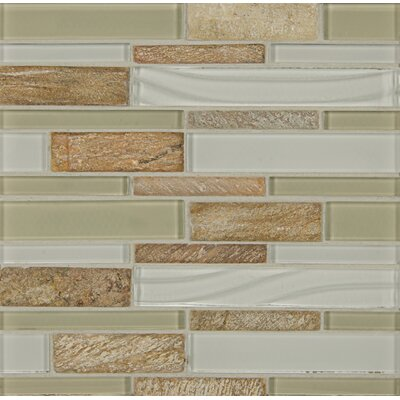 Elume Random Sized Glass Mosaic Tile in Champagne/White